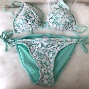 Target Teal Lace Crochet Floral Bikini Swimsuit